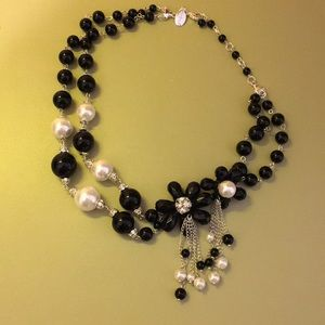 White House Black Market Jewelry - Black and White Necklace with Flower Accents